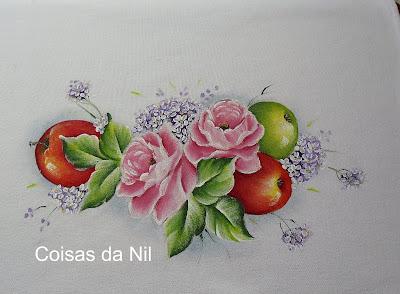 pintura de maças e rosas