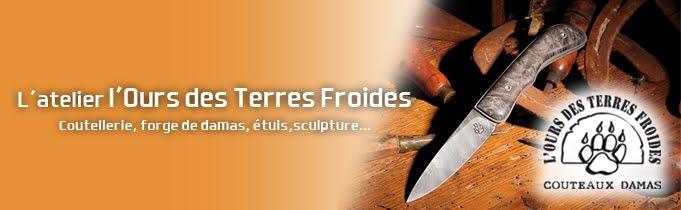 couteaux damas Atelier l'ours des terres froides, coutellerie, forge de damas, étuis, sculpture.