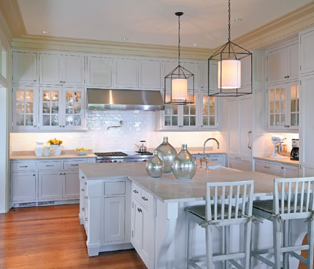 Kitchen Teal Cabis On Beach Cottage Kitchens Subway Style: Coastal Home: Spotted From The Crow's Nest:Beach House