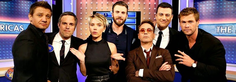 Earth's mightiest heroes Haweye, Hulk, Black Widow, Captain America, Ironman and Thor assemble as team avengers for a game of family feud with host Jimmy Kimmel via geniushowto.blogspot.com Avengers 2