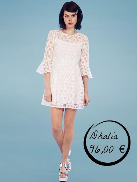 vestido blanco novia boda sesentero setenta corto Dhalia manga acampanada original infromal diferente civil