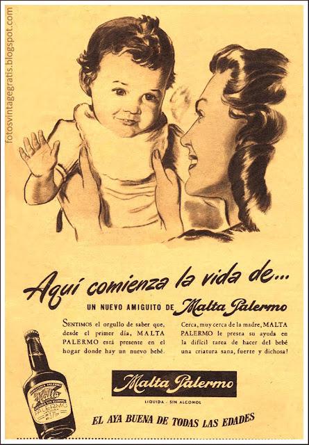 anuncio retro mamá y bebé