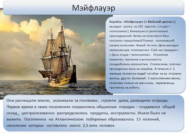 Мэйфлауэр - наглядное пособие по истории и географии