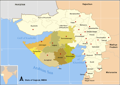 Map of State of Gujarat,India