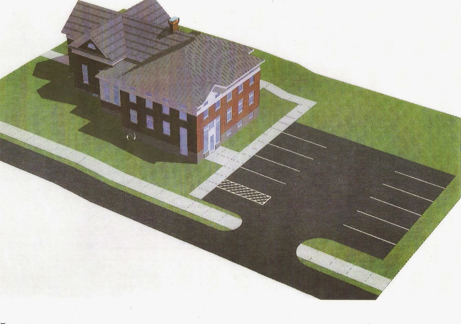 Expansion Plans showing rear entrance and parking lot.