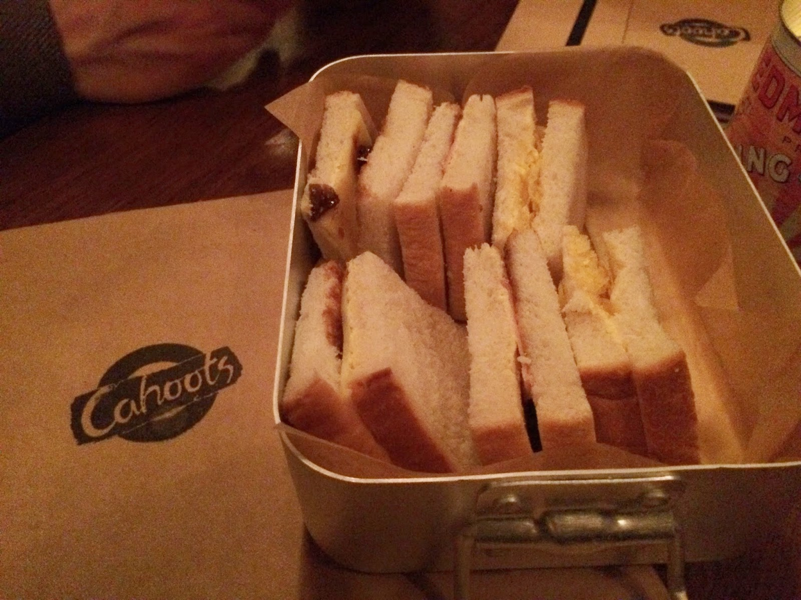 Complementary cheese and pickle sandwiches - Cahoots