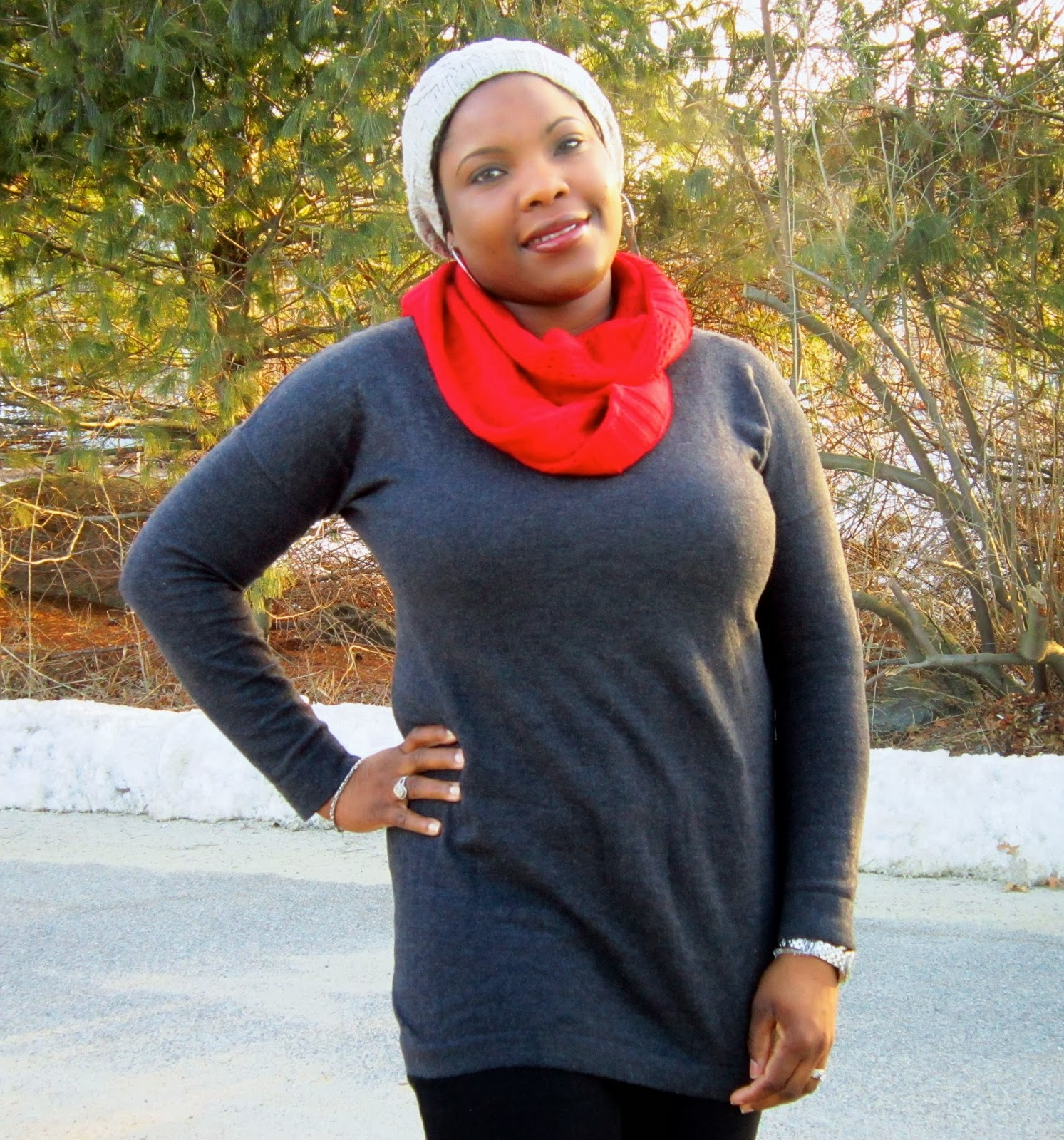 Plus size tunic, how to wear a beanie, knit hat