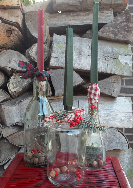 Dobermans By The Sea Rustic Winter Bottles DIY Repurpose