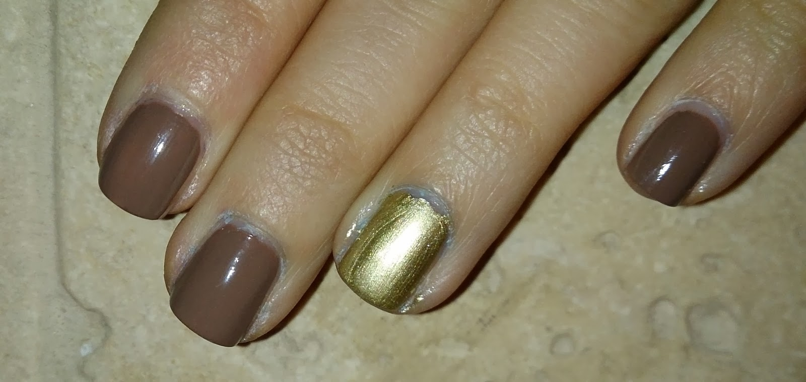 barry m nail polish varnish mushroom brown grey mocha np310 paint swatch gold foil effects