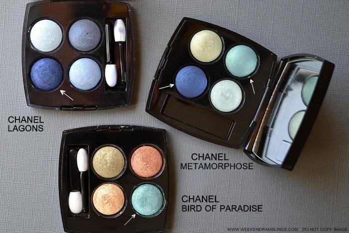 Chanel Metamorphose 44 Eyeshadow Quad LÉté Papillon de Chanel Summer 2013 Makeup Collection Bird of Paradise Lagons Comparisons Swatches
