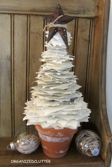 Book page tree, by Organized Clutter featured on Funky Junk Interiors