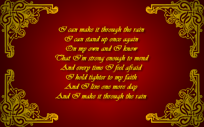 Through The Rain - Mariah Carey Song Lyric Quote in Text Image