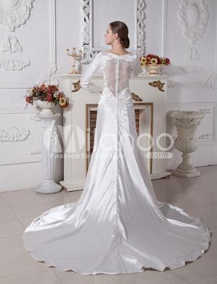 Ivoire satin tissés élastiques Gaine col en V Twilight Bella Swan Robe de mariée de style
