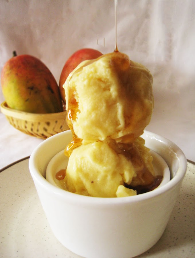 Mango-banana gelato. Just three ingredients