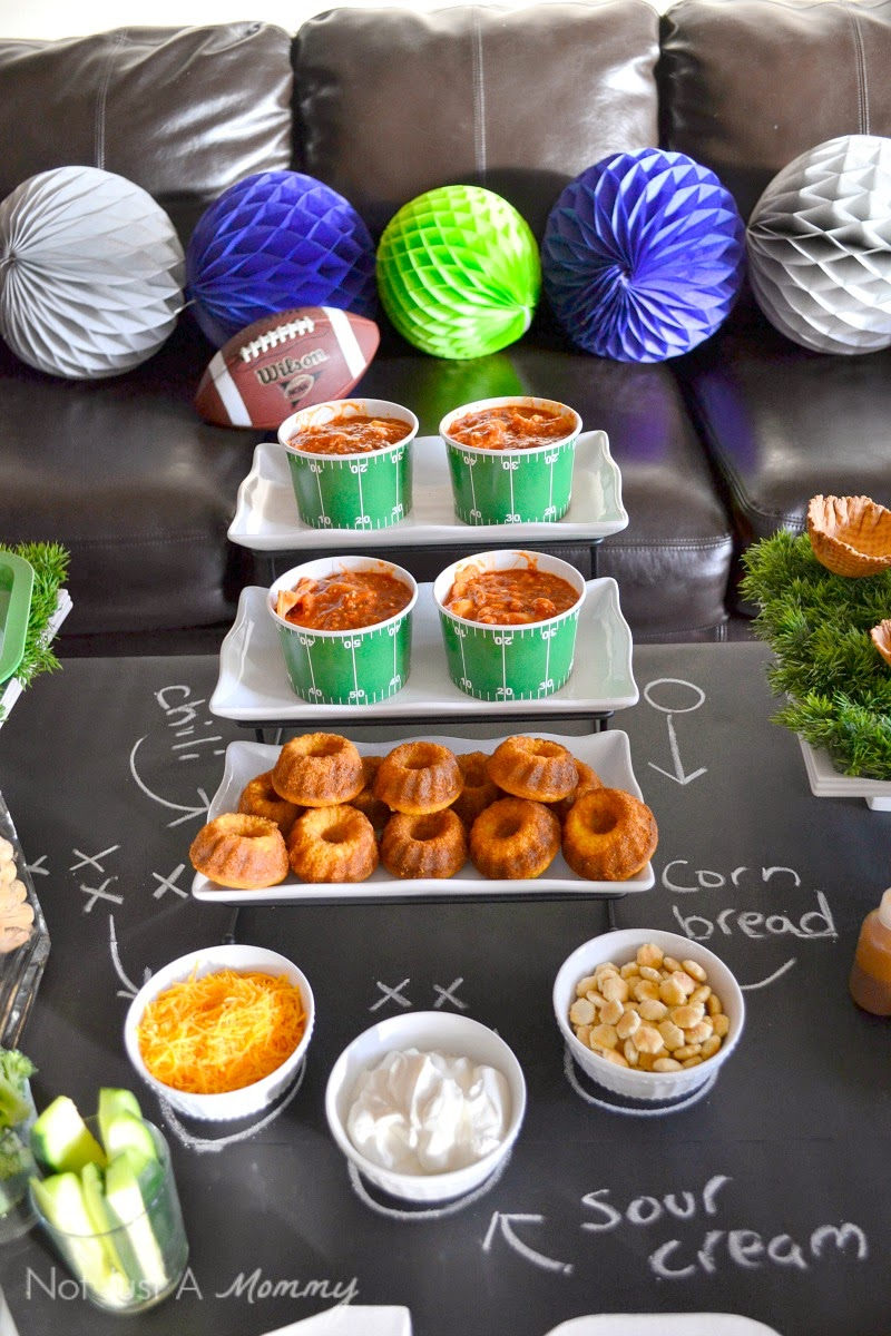 Super Bowl party table chili bowls