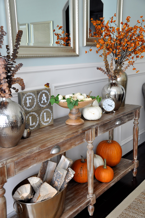 Fall decor using items in your home and natural elements like real pumpkins, yard clippings and firewood | Honey We're Home