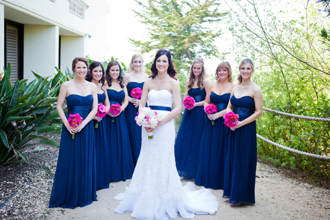 Navy Blue Bridesmaid Dresses And Pink Flowers 80