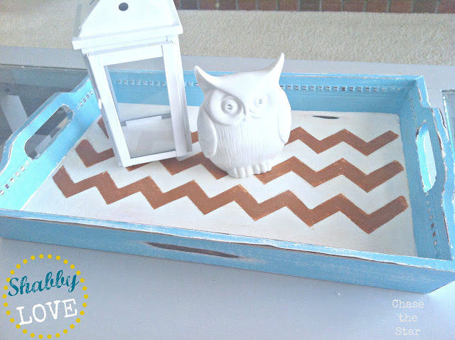 Chevron Stenciled Tray