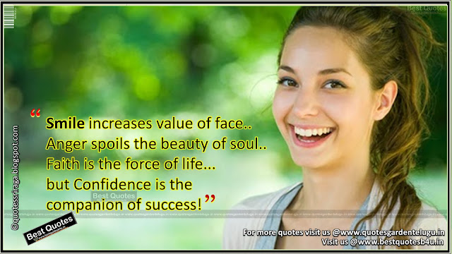 smiling and cofidence inspirational life quotes