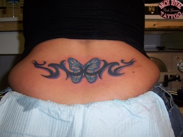 Tattoos back tattoos lower back butterfly tattoos for Lower back tribal tattoos