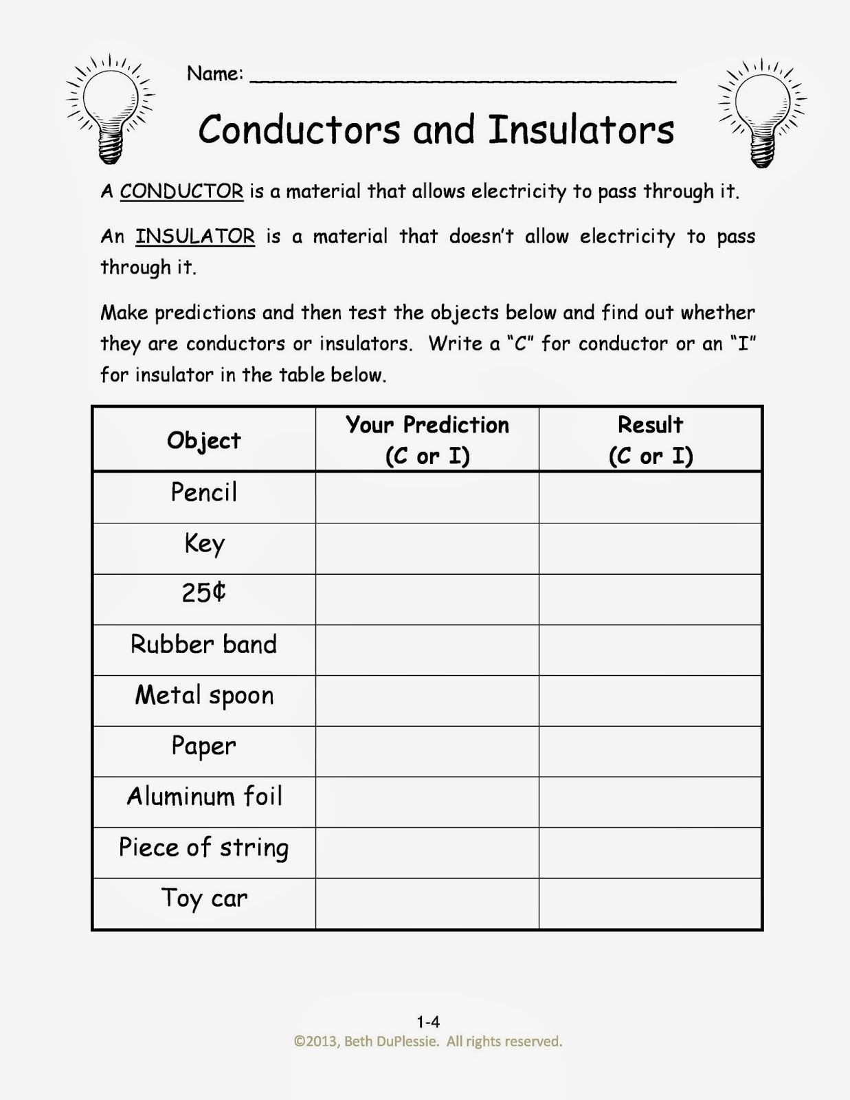 Worksheets Electricity Worksheet week 6 electrical engineering electricity homeschool an insulator is a material that doesnt allow to pass through it