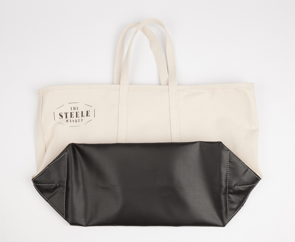 This release of the tote features the original The Steele Basket stencil  from the archives. f2e9aa7d8e