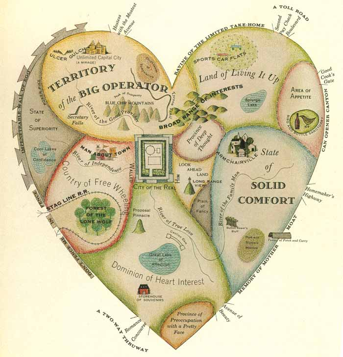 Guide to a man s heart and geographical guide to a woman s heart