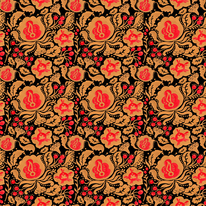 Khokhloma Kulture Pattern Printed on Merchandise Illustration by Haidi Shabrina