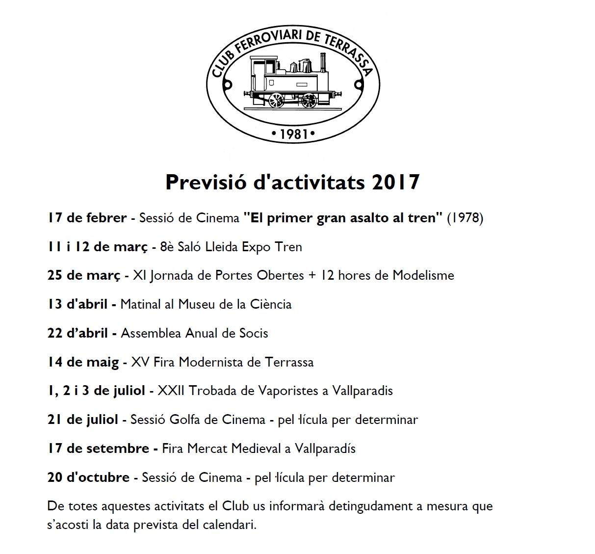 Actualització de la Previsió d'Activitats del Club Ferroviari de Terrassa. 11-FEB-2017