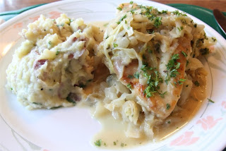 Seared Chicken over Honey Mustard Cabbage with Romano Mashed Potatoes