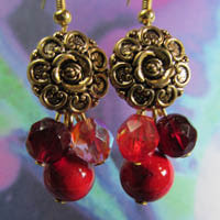 Vintage style gold flower button earrings with red czech beads and semi-precious stones