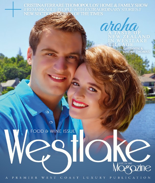 July 2014 Food & Wine Edition of Westlake Magazine featuring Gwithyen and Justine Thomas of Aroha Restaurant, New Zealand Cuisine