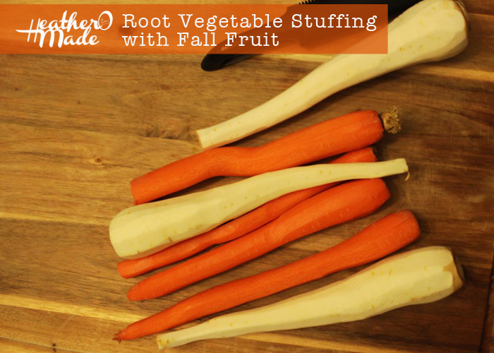root vegetable stuffing with fall fruit. heatheromade thanksgiving recipe.