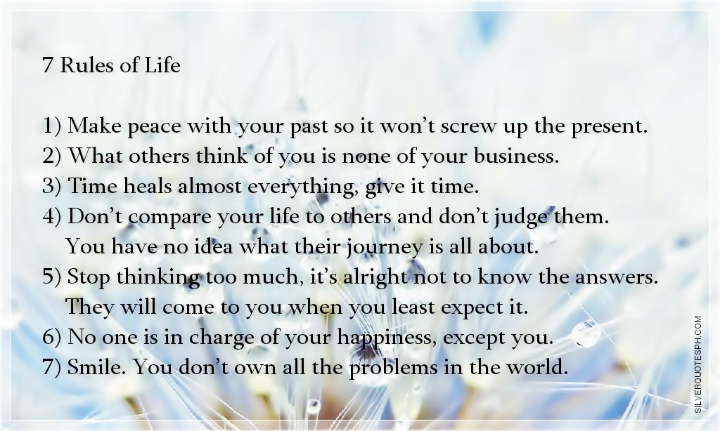 Rules Of Life Quotes And Sayings New 7 Rules Of Life Quote