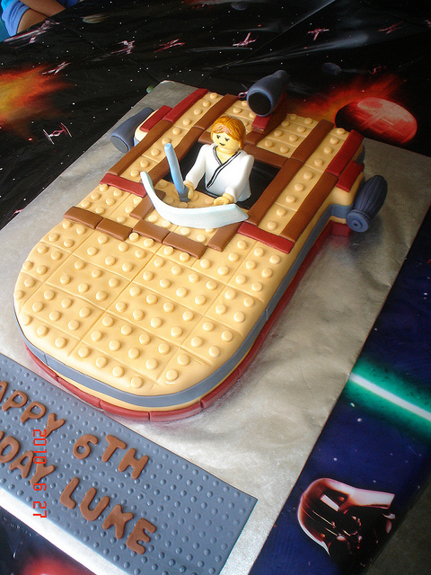 The following awesome star wars lego cake featuring luke skywalker