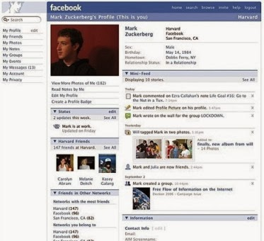 Tampilan facebook dari masa ke masa