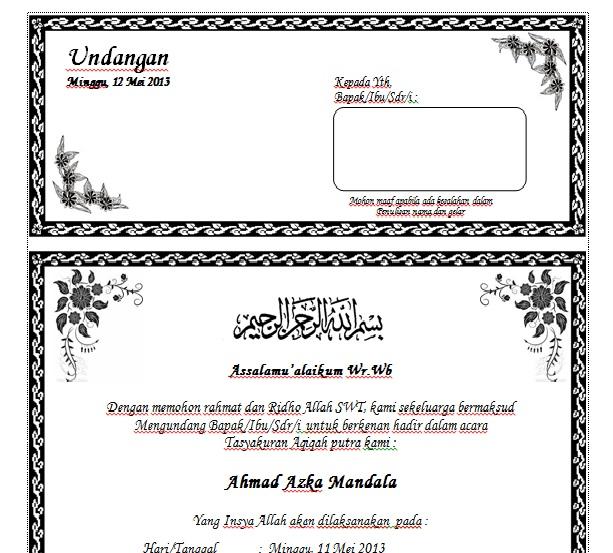 KB Jpeg Download Contoh Undangan Aqiqah Dengan Ms Word Terbaru
