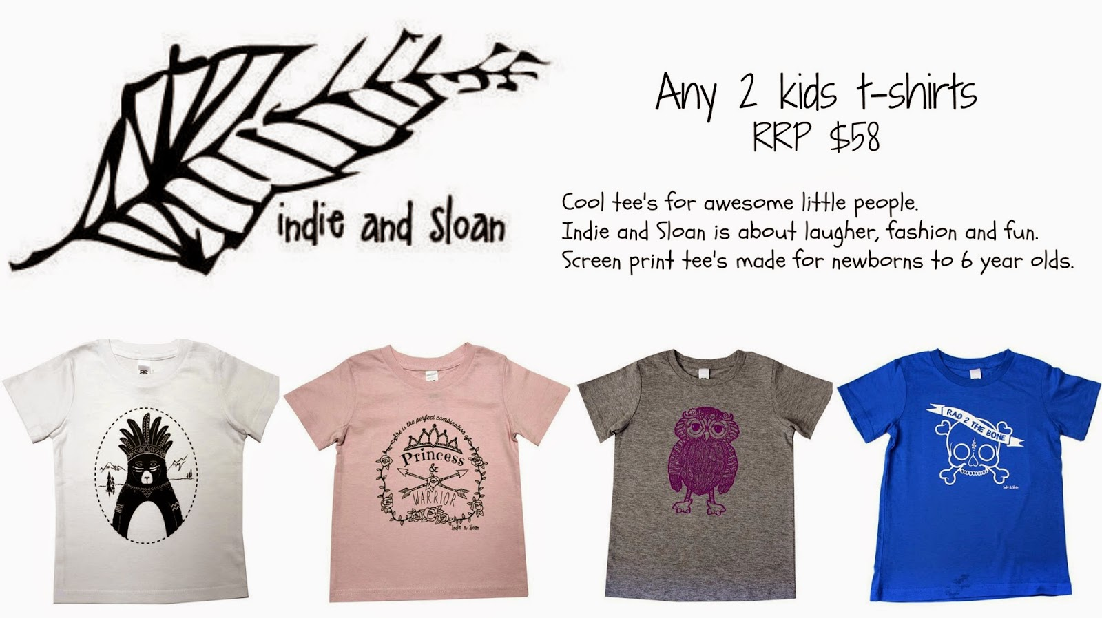 Indie and Sloan screen printed baby and kids tees