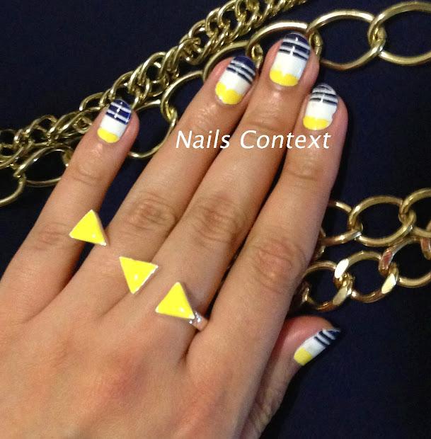 nails context yellow and navy