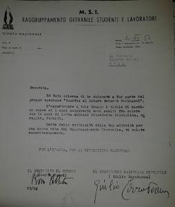 1954 - Lettera nomina Guardia al Labaro