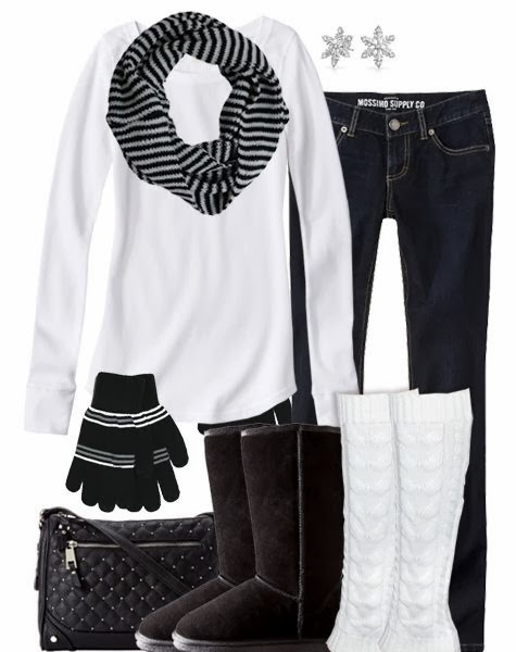 Adorable scarf, white blouse, jeans, gloves, warm boots and handbag for fall
