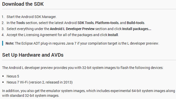 Basic Requirements & Guidelines for Android L Installation