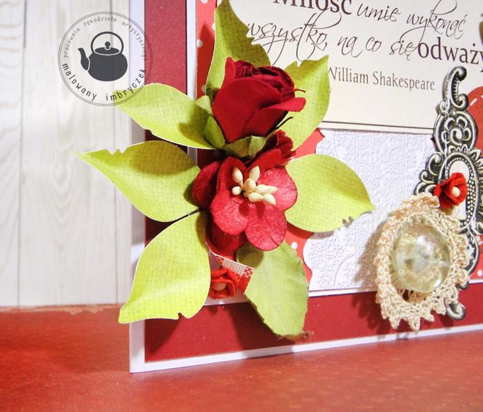 scrapbooking card valentine walentynki malowany imbryczek flower