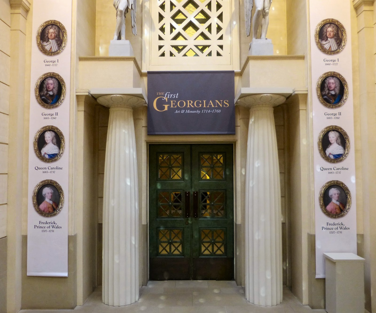 Entrance to The First Georgians exhibition inside the Queen's Gallery, Buckingham Palace