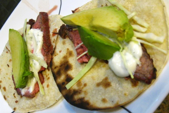 ... of Chefs: Marinated Flank Steak Tacos with Cilantro-Lime Sour Cream