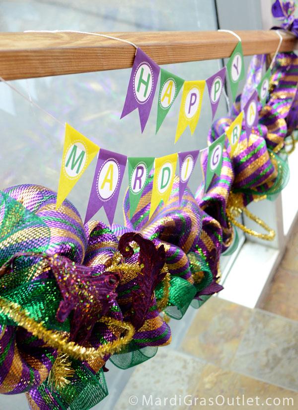 Free Printable, Mardi Gras Garland, Pennant, Banner, Mardi Gras Decorations, Deco Mesh