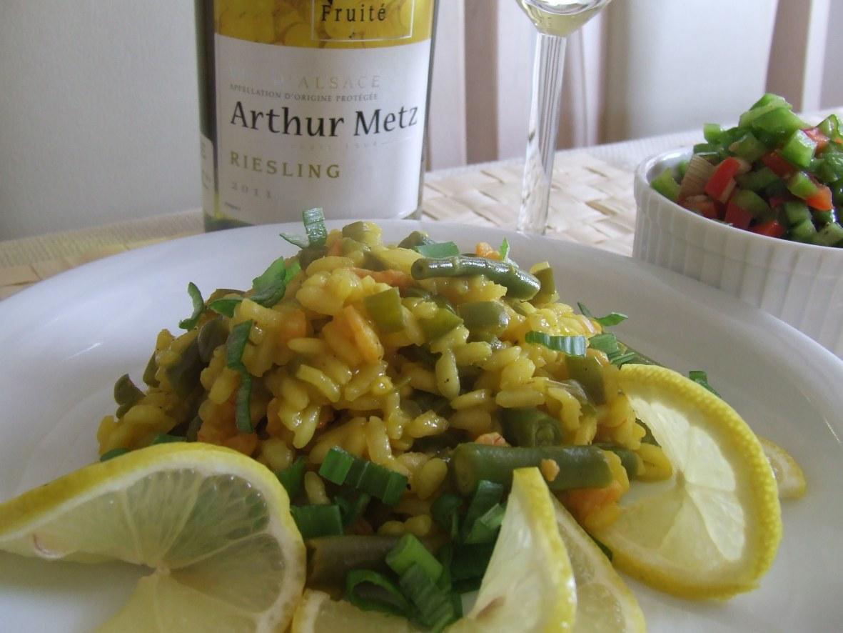 ... : Risotto natchnione winem - Cytrynowe risotto z krewetkami
