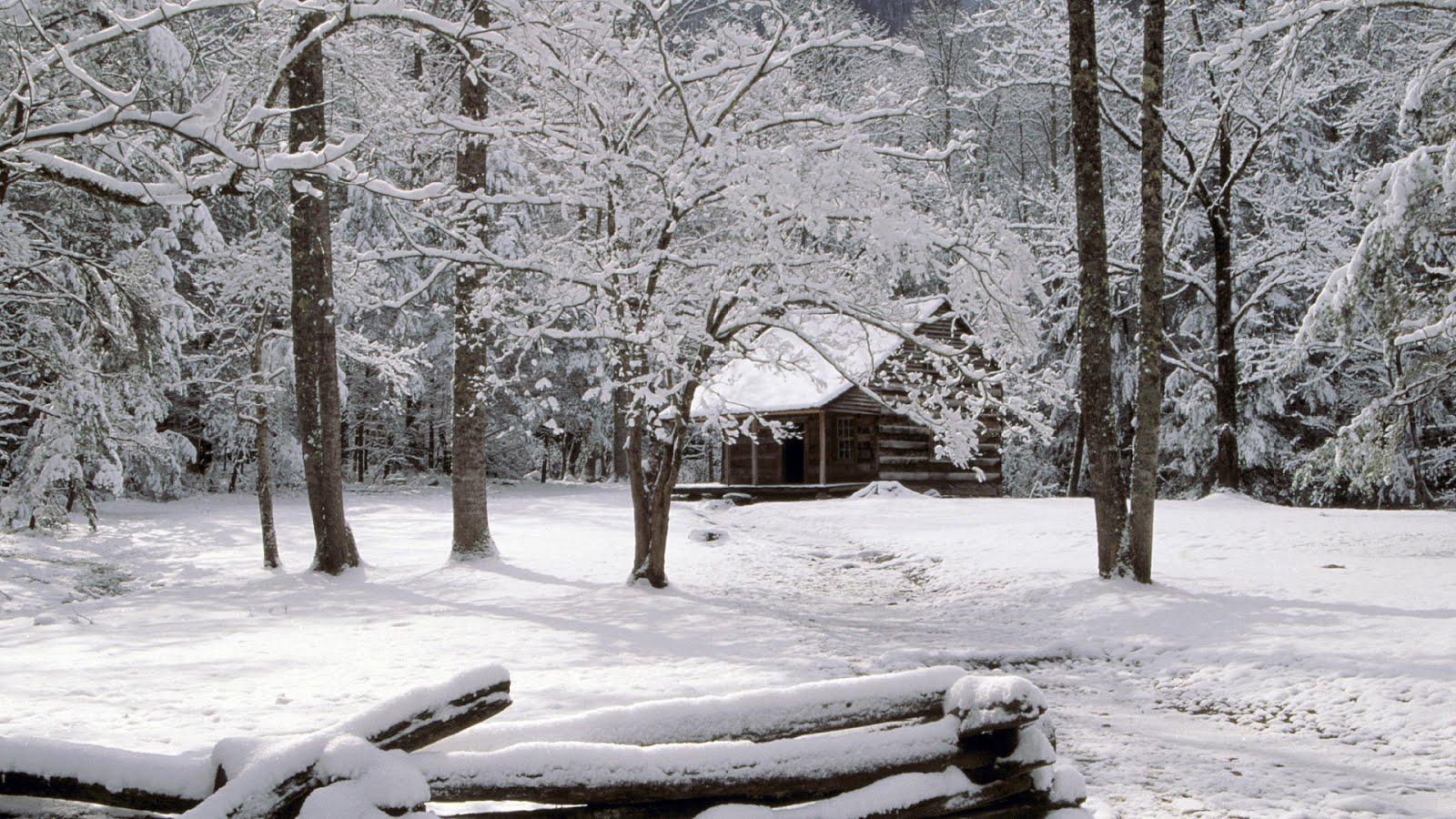 old cabin winter scene wallpaper - photo #30