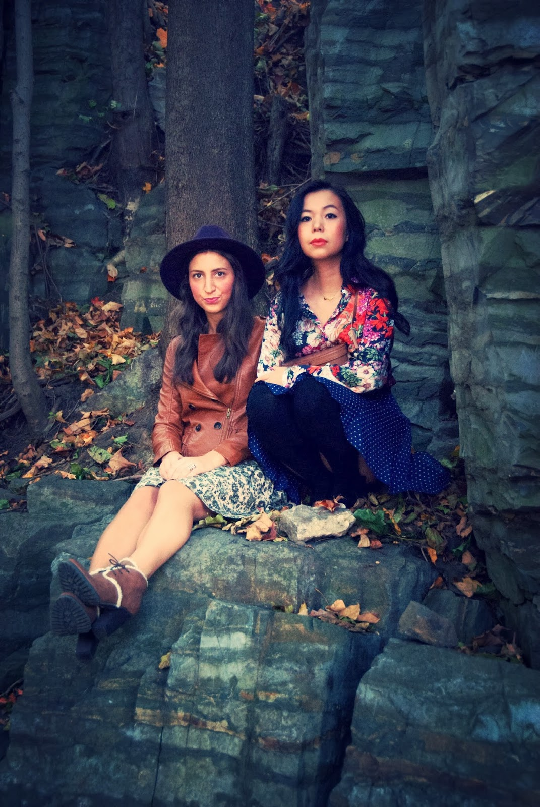 Montreal rocks cliff floral blouse camel leather jacket polka dot skirt black socks booties
