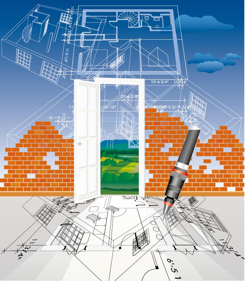 住宅建築の設計図 line draft house construction イラスト素材